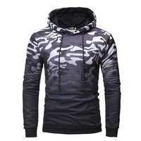 Mens Color Block Long Sleeve Casual Hooded Sweatshirt