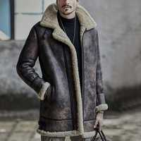Mens Thick Warm Winter Faux Shearling Leather Jacket