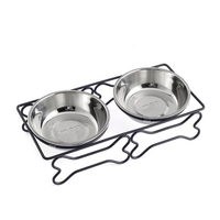 Stainless Steel Pet Bowl for Food and Water Bowls Pet Feeder Double Bowls Set Bone Shape Metal Stand