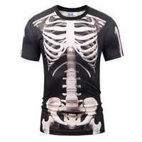 Men's Fashion 3D Digital Print Round Neck Short Sleeve T-shirt Lifelike Character Bone Funny T-shirt