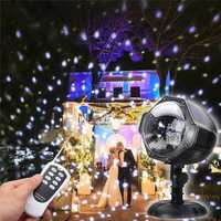 8W Snow Falling Outdoor Moving Projector Laser LED Garden Christmas Stage Light AC100-240V