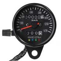 Motorcycle Speedometer Dual Odometer Gauge LED Backlight Headlight Indicator KMH