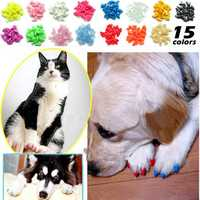 20pcs Soft Cat Pet Nail Caps Claw Control + Adhesive Glue Size M