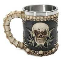 Honana Skull And Bones Fiendish 3D Tankard Mug Drinking Cup Coffee Beer Pirate Gothic