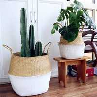 Garden Flower Pot Seagrass Belly Basket Plant Pot Laundry Storage Holder Organizer Bag Home Decor