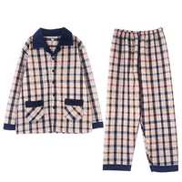 Mens Winter Warm Plaid Printing Fashion Home Sleepwear Set