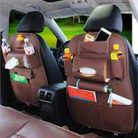 Leather Car Seat Back Storage Bag Waterproof Seat Cover Multi-functional Cup Holder Organizer