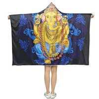 Hooded Throw Blankets Indian Ganesha Wearable Soft Warm Sleeping Sofa Bed Cover