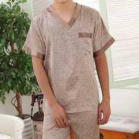 Soft Comfy Imitation Silk Home Loungewear Suit Pajamas