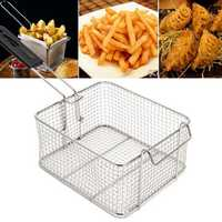 Camping Picnic BBQ Stainless Steel Chip Fish Fat Frying Deep Fryer Net Storage Baskets