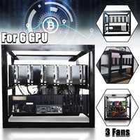 DIY Miner Mining Case Open Air Frame Mining Miner Rig Case W/ 3x Fans For 6 GPU ETH BTC Ethereum