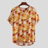 Mens Summer Maple Leaf Printing Breathable Shirts