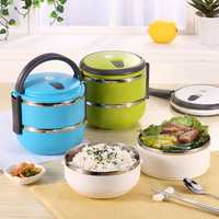 2 Layers Stainless Steel Bento Lunch Box Portable Thermal Insulation Lunch Box