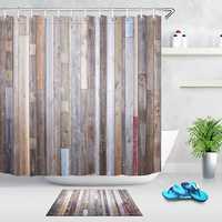 40X60cm Bathroom Shower Curtain Modern Rustic Wood Wall Waterproof Bathroom Liner Shower Curtain