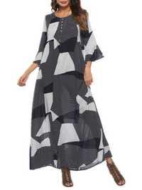 Plaid 3/4 Sleeve Maxi Dress