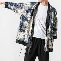 Mens Chinese Style Crane Printing Loose Kimono