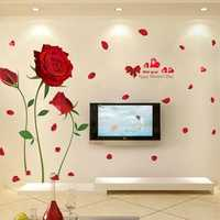 60x90cm Removable Red Rose Life Is The Flower Wall Sticker Mural Decal Home Room Art Decor DIY Romantic Sticker
