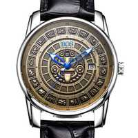 ANGELA BOS 9018 Retro Men Mechanical Watches MAYA Skeleton Design Dials Men Leather Watches