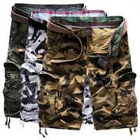 Mens Camouflage Spring Summer Causal Loose Straight Cargo Pants Shorts