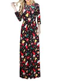 Christmas Casual Women Printed Long Sleeve Loose Maxi Dresses