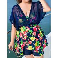 Plus Size Floral Printed Two Pieces Swimdresses