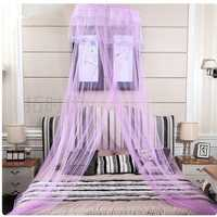 Elegant Lace Embroidering Hanging Bedding Mosquito Net Princess Round Mesh
