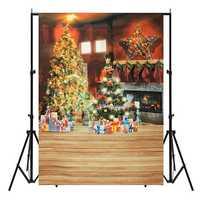 5x7FT Christmas Tree Gift Fireplace Photography Backdrop Photo Background Studio Prop