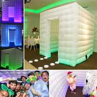 2.5m 1 Door 8 LED Color Bulb Strip Inflatable Photography Booth Enclosure Cube Tent
