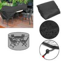 110x185cm Outdoor Round Garden Furniture Cover Rain Dust Protector For 4 Seater