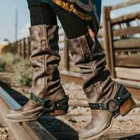 Retro Belt Buckle Motorcycle Boots