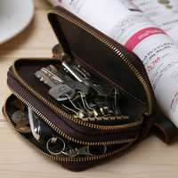 Men Retro Leather Key Holder Bag Key Hook Zipper Case