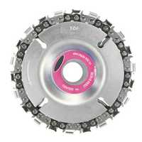 Drillpro 4 Inch Grinder Chain Disc 22mm Arbor 22 Tooth Wood Carving Disc For 115/125mm Angle Grinder