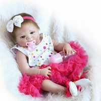 NPK 18 Inch 46cm Reborn Baby Soft Silicone Doll Handmade Lifelike Baby Girl Dolls Play House Toys Birthday Gift