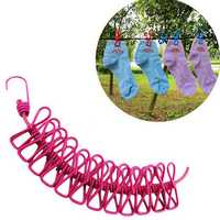 Portable Retractable Clothesline Windproof Stretch Drying Rack 12 Clips Iron-Wire PP Clothesline