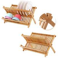 Foldable Bamboo Dish Drying Rack Plate Bowl Drainer Kitchen Storage Rack Organizer Holder 16 Grids Kitchen Tools