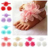 3pcs a Set Lace Flower Hair Band Soft Elastic Wear Accessories Barefoot Art Feet Baby Girls Headbrand