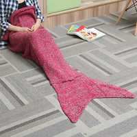 Two Size Thick Needle Yarn Knitting Mermaid Tail Blanket Woman Warm Super Soft Bed Mat