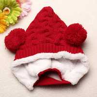 Baby Knitted Plus Velvet Twisted Double Ball Hat Cap
