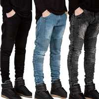 Mens Fashion Skinny Jeans Elastic Runway Slim Denim Biker Jeans Hiphop Pants