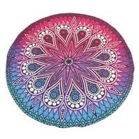 145CM Bohemia Floral Blue Purple Round Yoga Mat Beach Towel Shawl Wall Hanging Tapestry