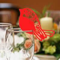 50Pcs Robin Bird Wedding Name Place Cards Wine Glass Laser Cut Pearlescent Card Party Accessories