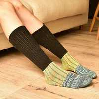 Women Girls Knitting Crochet Stripe Legs Socks Harajuku Style Mixed Color Patchwork High Hosiery