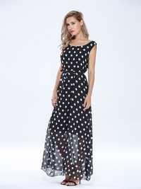Elegant Women Polka Dots Sleeveless Chiffon Maxi Dress With Belt