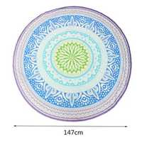 147CM Bohemia Round Yoga Mat Blue Green Beach Printing Throw Towel Shawl Wall Hanging Tapestry
