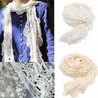 Women Ladies Embroidery Floral Crochet Mesh Lace Trim Scarf Transparent Long Shawl