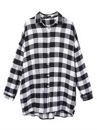 Europe Style Women Casual Black White Plaid Long Sleeve Blouse