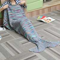 180X90CM 2 Color Yarn Knitting Mermaid Tail Blanket Air Conditioning Blanket Bed Mat Sleep Bag