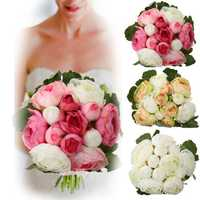 13Heads Artificial Silk Jasmine Flowers Bride Bouquet Wedding Home Decoration