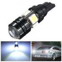 T10 Car LED Auto Lamp 5W-12V Light Bulbs With Bifocal Lens White Light