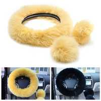 3Pcs Plush Wool Soft Car Steel Ring Wheel Cover Woolen Auto Handbrake Shift Knob Guard